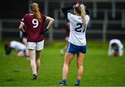 15 November 2020; Eimear McAnespie of Monaghan reacts at the final whistle following the TG4 All-Ireland Senior Ladies Football Championship Round 3 match between Galway and Monaghan at Páirc Seán Mac Diarmada in Carrick-on-Shannon, Leitrim. Photo by Sam Barnes/Sportsfile