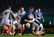 16 November 2020; Dan Leavy of Leinster is tackled by Luke Crosbie of Edinburgh during the Guinness PRO14 match between Leinster and Edinburgh at the RDS Arena in Dublin. Photo by Harry Murphy/Sportsfile