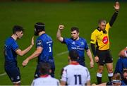 16 November 2020; Luke McGrath of Leinster celebrates a try by Dan Leavy during the Guinness PRO14 match between Leinster and Edinburgh at RDS Arena in Dublin. Photo by Ramsey Cardy/Sportsfile