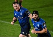 16 November 2020; Peter Dooley, left, and Scott Fardy of Leinster during the Guinness PRO14 match between Leinster and Edinburgh at RDS Arena in Dublin. Photo by Ramsey Cardy/Sportsfile