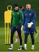 17 November 2020; Goalkeepers Darren Randolph, right, and Caoimhin Kelleher during a Republic of Ireland training session at the FAI National Training Centre in Abbotstown, Dublin. Photo by Stephen McCarthy/Sportsfile