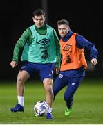 17 November 2020; Josh Cullen, left, and Jack Byrne during a Republic of Ireland training session at the FAI National Training Centre in Abbotstown, Dublin. Photo by Stephen McCarthy/Sportsfile