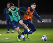 17 November 2020; Jack Byrne, right, and Josh Cullen during a Republic of Ireland training session at the FAI National Training Centre in Abbotstown, Dublin. Photo by Stephen McCarthy/Sportsfile