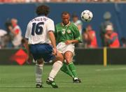 18 June 1994; Terry Phelan of Republic of Ireland in action against Roberto Donadoni of Italy during the FIFA World Cup 1994 Group E match between Republic of Ireland and Italy at Giants Stadium in New Jersey, USA. Photo by Ray McManus/Sportsfile