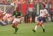 18 June 1994; Terry Phelan of Republic of Ireland in action against Roberto Donadoni of Italy during the FIFA World Cup 1994 Group E match between Republic of Ireland and Italy at Giants Stadium in New Jersey, USA. Photo by David Maher/Sportsfile