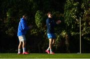 18 November 2020; Garry Ringrose, right, and Jordan Larmour clap during Leinster Rugby squad training at UCD in Dublin. Photo by Harry Murphy/Sportsfile