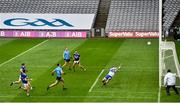 15 November 2020; Laois goalkeeper Niall Corbet saves a shot on goal by Brian Fenton of Dublin during the Leinster GAA Football Senior Championship Semi-Final match between Dublin and Laois at Croke Park in Dublin. Photo by Eóin Noonan/Sportsfile