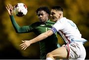 18 November 2020; Joshua Ogunfaolu-Kayode of Republic of Ireland in action against Seid Korac of Luxembourg during the UEFA European U21 Championship Qualifier match between Luxembourg and Republic of Ireland at Stade Henri-Dunant in Beggen, Luxembourg. Photo by Gerry Schmidt/Sportsfile