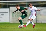 18 November 2020; Connor Ronan of Republic of Ireland in action against Kenan Avdusinovic of Luxembourg during the UEFA European U21 Championship Qualifier match between Luxembourg and Republic of Ireland at Stade Henri-Dunant in Beggen, Luxembourg. Photo by Gerry Schmidt/Sportsfile