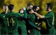 18 November 2020; Republic of Ireland players celebrate their side's first goal, scored by Joshua Ogunfaolu-Kayode, during the UEFA European U21 Championship Qualifier match between Luxembourg and Republic of Ireland at Stade Henri-Dunant in Beggen, Luxembourg. Photo by Gerry Schmidt/Sportsfile