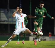 18 November 2020; Danny Mandroiu of Republic of Ireland in action against Seid Korac of Luxembourg during the UEFA European U21 Championship Qualifier match between Luxembourg and Republic of Ireland at Stade Henri-Dunant in Beggen, Luxembourg. Photo by Gerry Schmidt/Sportsfile