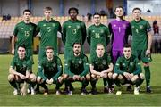 18 November 2020; The Republic of Ireland team, back row, from left, Thomas O'Connor, Mark McGuinness, Joshua Ogunfaolu-Kayode, Danny Mandroiu, Ed McGinty and Conor Masterson. Front row, from left, Danny McNamara, Connor Ronan, Zach Elbouzedi, Anthony Scully and Darragh Leahy ahead of the UEFA European U21 Championship Qualifier match between Luxembourg and Republic of Ireland at Stade Henri-Dunant in Beggen, Luxembourg. Photo by Gerry Schmidt/Sportsfile