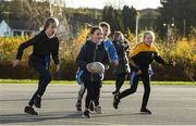 19 November 2020; Trinity Moran in action during a Leinster Rugby kids training session at Gaelscoil Moshíológ in Gorey, Wexford. Photo by Matt Browne/Sportsfile