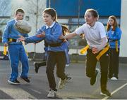 19 November 2020; Zoe Ni Dhorochai in action during a Leinster Rugby kids training session at Gaelscoil Moshíológ in Gorey, Wexford. Photo by Matt Browne/Sportsfile