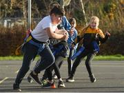 19 November 2020; Cian O Braoin in action during a Leinster Rugby kids training session at Gaelscoil Moshíológ in Gorey, Wexford. Photo by Matt Browne/Sportsfile