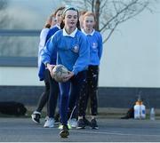 19 November 2020; Aoibhinn Ni Chionnfhaolaidh during a Leinster Rugby kids training session at Gaelscoil Moshíológ in Gorey, Wexford. Photo by Matt Browne/Sportsfile