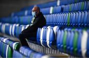 18 November 2020; A supporter takes his seat in the stands prior to the UEFA Nations League B match between Northern Ireland and Romania at the National Football Stadium at Windsor Park in Belfast. Photo by David Fitzgerald/Sportsfile