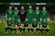 18 November 2020; Republic of Ireland team, back row, from left, Kevin Long, Conor Hourihane, Darren Randolph, Shane Duffy, Dara O'Shea and Ronan Curtis. Front row, from left, James Collins, Jason Knight, Ryan Manning, Robbie Brady and Daryl Horgan ahead of the UEFA Nations League B match between Republic of Ireland and Bulgaria at the Aviva Stadium in Dublin. Photo by Stephen McCarthy/Sportsfile