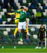 18 November 2020; Liam Boyce of Northern Ireland in action against Iulian Cristea of Romania during the UEFA Nations League B match between Northern Ireland and Romania at the National Football Stadium at Windsor Park in Belfast. Photo by David Fitzgerald/Sportsfile
