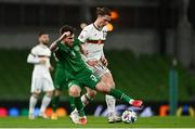 18 November 2020; Bozhidar Kraev of Bulgaria is tackled by Ryan Manning of Republic of Ireland during the UEFA Nations League B match between Republic of Ireland and Bulgaria at the Aviva Stadium in Dublin. Photo by Sam Barnes/Sportsfile