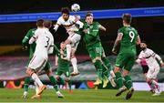 18 November 2020; Kristian Dimitrov of Bulgaria heads the ball goalwards despite the efforts of Ronan Curtis and Shane Duffy of Republic of Ireland during the UEFA Nations League B match between Republic of Ireland and Bulgaria at the Aviva Stadium in Dublin. Photo by Sam Barnes/Sportsfile