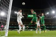 18 November 2020; James Collins of Republic of Ireland has a header on goal during the UEFA Nations League B match between Republic of Ireland and Bulgaria at the Aviva Stadium in Dublin. Photo by Stephen McCarthy/Sportsfile