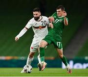 18 November 2020; Dimitar Iliev of Bulgaria is tackled by Jason Knight of Republic of Ireland during the UEFA Nations League B match between Republic of Ireland and Bulgaria at the Aviva Stadium in Dublin. Photo by Sam Barnes/Sportsfile