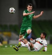 18 November 2020; Jason Knight of Republic of Ireland is tackled by Aleksandar Vasilev of Bulgaria during the UEFA Nations League B match between Republic of Ireland and Bulgaria at the Aviva Stadium in Dublin. Photo by Stephen McCarthy/Sportsfile