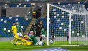 18 November 2020; Liam Boyce of Northern Ireland scores his side's first goal during the UEFA Nations League B match between Northern Ireland and Romania in the National Football Stadium at Windsor Park in Belfast. Photo by David Fitzgerald/Sportsfile