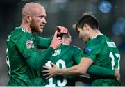 18 November 2020; Liam Boyce of Northern Ireland celebrates after scoring his side's first goal during the UEFA Nations League B match between Northern Ireland and Romania in the National Football Stadium at Windsor Park in Belfast. Photo by David Fitzgerald/Sportsfile