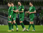 18 November 2020; Republic of Ireland players, from left, Ronan Curtis, Dara O'Shea, Shane Duffy and Kevin Long during the UEFA Nations League B match between Republic of Ireland and Bulgaria at the Aviva Stadium in Dublin. Photo by Seb Daly/Sportsfile