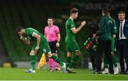 18 November 2020; Troy Parrott of Republic of Ireland, left, comes on as a substitute to replace team-mate James Collins during the UEFA Nations League B match between Republic of Ireland and Bulgaria at the Aviva Stadium in Dublin. Photo by Sam Barnes/Sportsfile