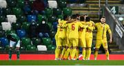 18 November 2020; Romania players celebrate after Eric Bicfalvi scored their side's first goal during the UEFA Nations League B match between Northern Ireland and Romania in the National Football Stadium at Windsor Park in Belfast. Photo by David Fitzgerald/Sportsfile