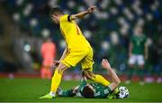 18 November 2020; Razvan Marin of Romania in action against Stuart Dallas of Northern Ireland during the UEFA Nations League B match between Northern Ireland and Romania in the National Football Stadium at Windsor Park in Belfast. Photo by David Fitzgerald/Sportsfile