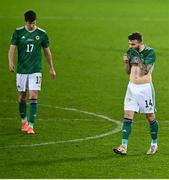 18 November 2020; Stuart Dallas, right, and Paddy McNair of Northern Ireland following the UEFA Nations League B match between Northern Ireland and Romania in the National Football Stadium at Windsor Park in Belfast. Photo by David Fitzgerald/Sportsfile