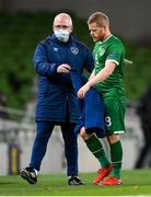 18 November 2020; Daryl Horgan is handed a coat by Republic of Ireland kitman Fergus McNally during the UEFA Nations League B match between Republic of Ireland and Bulgaria at the Aviva Stadium in Dublin. Photo by Stephen McCarthy/Sportsfile