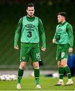 18 November 2020; Kevin Long, left, and Dara O'Shea of Republic of Ireland prior to the UEFA Nations League B match between Republic of Ireland and Bulgaria at the Aviva Stadium in Dublin. Photo by Seb Daly/Sportsfile
