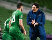 18 November 2020; Republic of Ireland coach Keith Andrews speaks to Troy Parrott before coming on a second half substitute during the UEFA Nations League B match between Republic of Ireland and Bulgaria at the Aviva Stadium in Dublin. Photo by Stephen McCarthy/Sportsfile
