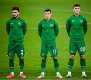 18 November 2020; Republic of Ireland players, from left, Ryan Manning, Jason Knight and Dara O'Shea prior to the UEFA Nations League B match between Republic of Ireland and Bulgaria at the Aviva Stadium in Dublin. Photo by Stephen McCarthy/Sportsfile