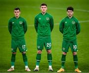 18 November 2020; Republic of Ireland players, from left, Jason Knight, Dara O'Shea and Robbie Brady prior to the UEFA Nations League B match between Republic of Ireland and Bulgaria at the Aviva Stadium in Dublin. Photo by Stephen McCarthy/Sportsfile