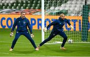 18 November 2020; Republic of Ireland goalkeeping coach Steve Williams and Darren Randolph prior to the UEFA Nations League B match between Republic of Ireland and Bulgaria at the Aviva Stadium in Dublin. Photo by Stephen McCarthy/Sportsfile