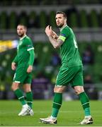 18 November 2020; Shane Duffy of Republic of Ireland reacts during the UEFA Nations League B match between Republic of Ireland and Bulgaria at the Aviva Stadium in Dublin. Photo by Seb Daly/Sportsfile