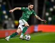 18 November 2020; Stuart Dallas of Northern Ireland during the UEFA Nations League B match between Northern Ireland and Romania in the National Football Stadium at Windsor Park in Belfast. Photo by David Fitzgerald/Sportsfile