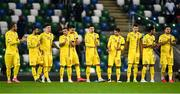 18 November 2020; Romania players prior to the UEFA Nations League B match between Northern Ireland and Romania in the National Football Stadium at Windsor Park in Belfast. Photo by David Fitzgerald/Sportsfile