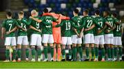 18 November 2020; Northern Ireland players prior to the UEFA Nations League B match between Northern Ireland and Romania in the National Football Stadium at Windsor Park in Belfast. Photo by David Fitzgerald/Sportsfile