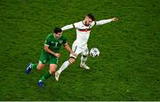 18 November 2020; Josh Cullen of Republic of Ireland in action against Kristiyan Malinov of Bulgaria during the UEFA Nations League B match between Republic of Ireland and Bulgaria at the Aviva Stadium in Dublin. Photo by Eóin Noonan/Sportsfile