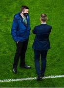 18 November 2020; Kieran Crowley, FAI communications executive, left, with Republic of Ireland manager Stephen Kenny during the UEFA Nations League B match between Republic of Ireland and Bulgaria at the Aviva Stadium in Dublin. Photo by Eóin Noonan/Sportsfile