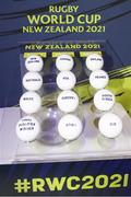 20 November 2020; Draw balls on display during the Rugby World Cup 2021 Draw event at the SKYCITY Theatre in Auckland, New Zealand. Photo by Phil Walter / World Rugby via Sportsfile