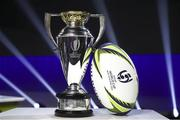 20 November 2020; A general view of the Women's Rugby World Cup trophy and official match ball during the Rugby World Cup 2021 Draw event at the SKYCITY Theatre in Auckland, New Zealand. Photo by Phil Walter / World Rugby via Sportsfile