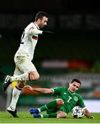 18 November 2020; Aleksandar Tsvetkov of Bulgaria is tackled by Josh Cullen of Republic of Ireland during the UEFA Nations League B match between Republic of Ireland and Bulgaria at the Aviva Stadium in Dublin. Photo by Sam Barnes/Sportsfile